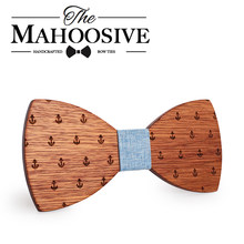 MAHOOSIVE Classic Captain Wood Bow Ties Wooden Butterfly Bowknots Gravatas Cravat(China)