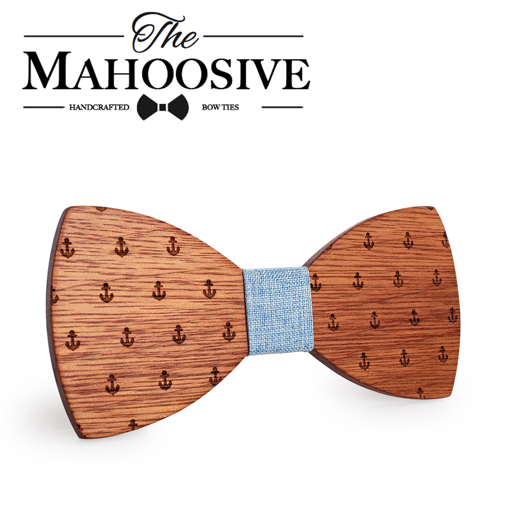 MAHOOSIVE Classic Captain Wood Bow Ties Wooden Butterfly Bowknots Gravatas Cravat