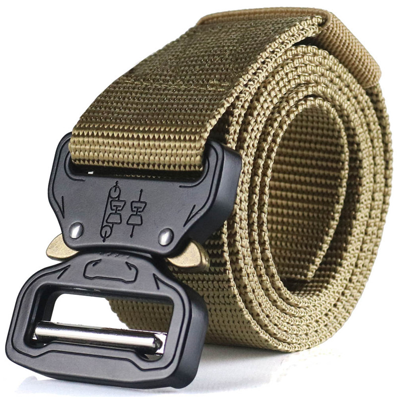 Military Tactical Belt Webbing Canvas Outdoor Web Belt With Metal Buckle