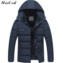 Hot Sell High Quality Fashion Men's Casual Parkas Solid Fleece Winter Jacket Men Hooded Thick Warn Padded Overcoat Male Coats