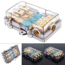 Universal 60A 1 In 3 Ways Copper Plated Car Stereo Audio Power Fuse Holder for Boat Auto Vehicles