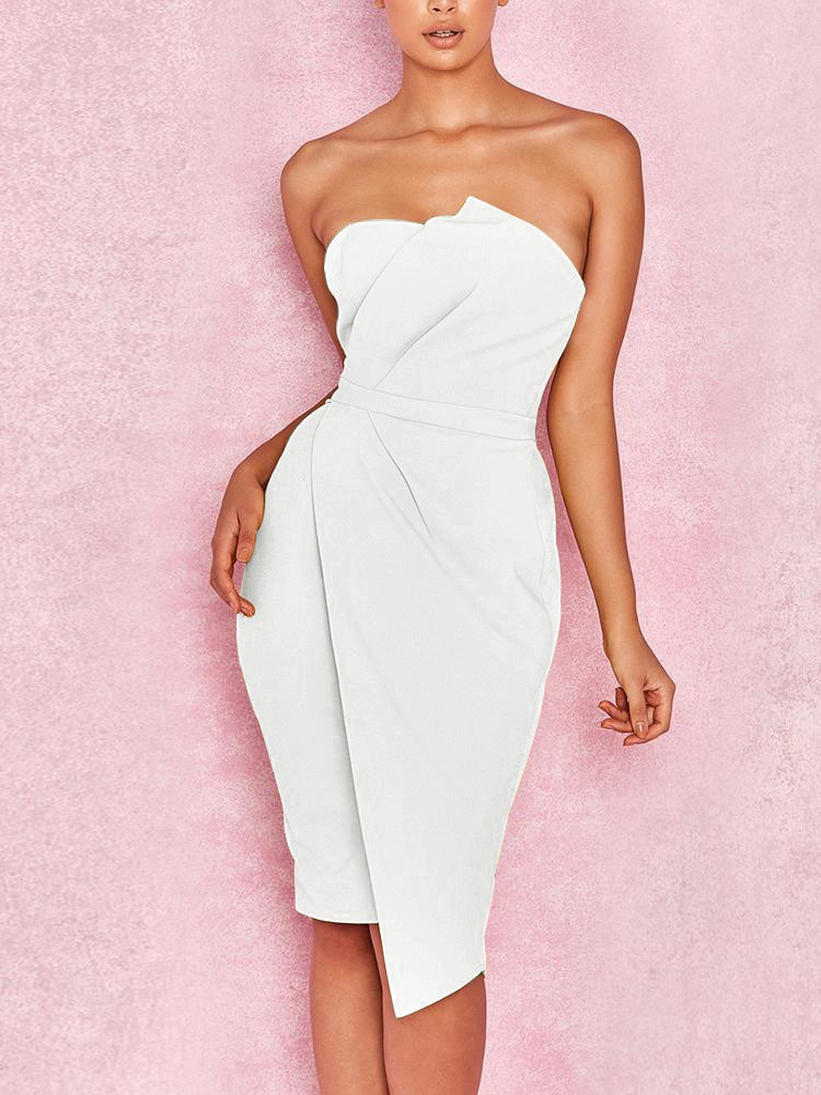 1d84760650b Yellow Strapless Sleeveless Knee Length Wrinkled Irregular Evening Bodycon  Dress off Shoulder Club Party Bodycon Dresses-in Dresses from Women s  Clothing on ...