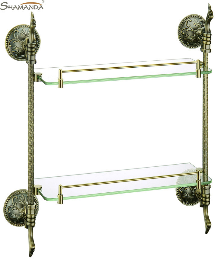 Free shipping-Bathroom Accessories European style Luxurious Antique bronze double glass shelf -wholesale-66012B цена 2017
