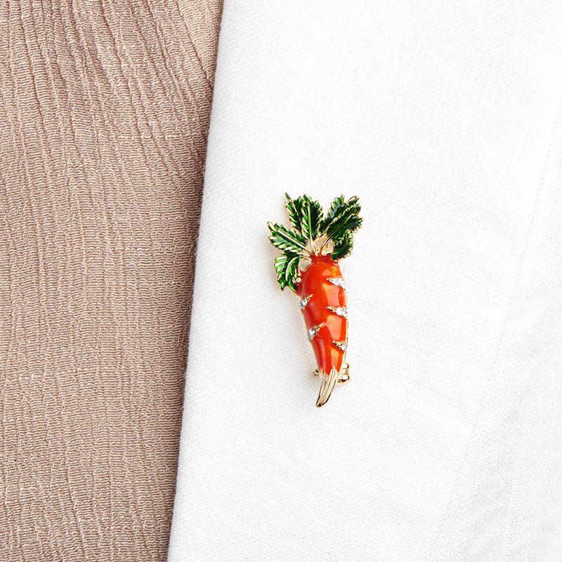 Blucome Arancione Sveglio Carota Brooch Dello Smalto Verde Foglie D'oro-Spilli Vestito di Sciarpa di colore Vestiti Corpetto Gioielli Delle Donne Degli Uomini Bambini regali