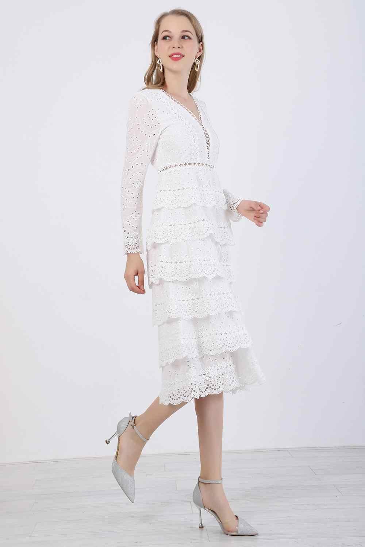 Новое Осеннее и зимнее высококачественное роскошное подиумное белое кружевное платье с вышивкой Женские сексуальные вечерние платья с длинным рукавом и v-образным вырезом vestidos