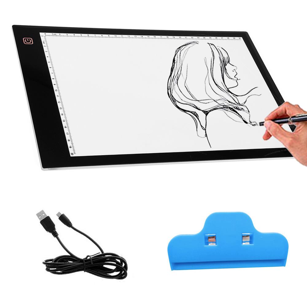 Prix pour Portable Alimenté Par USB Ultra-mince A4 LED Vue-protégé Tactile Dimmable Animation Traçage Boîte à Lumière Conseil Pad Tablet avec Clip