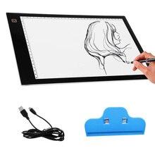 Портативный USB Powered ультра-тонкий A4 LED зрение охраняемых touch затемнения анимации Трассировка световой короб планшетный Pad совета с зажимом
