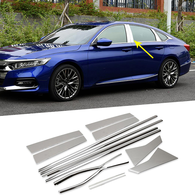 14PCS Stainless Sreel Car Exterior Window Pillar Decoration Cover Trim Styling Mouldings For Honda Accord 10th 2018 Accessories