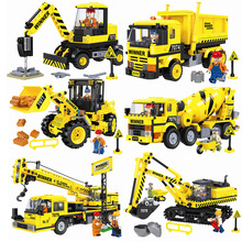 City Construction Engineering Vehicles Legoings Excavator Bulldozer Crane Cement Mixer Dump Truck Loader Building Block Toys