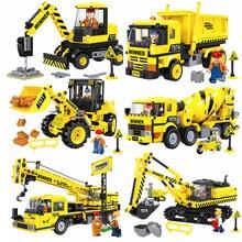 City Construction Engineering Vehicles Legoings Excavator Bulldozer Crane Cement Mixer Dump Truck Loader Building Block Toys стоимость