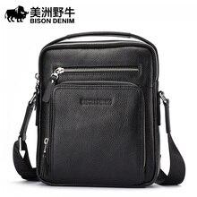 BISON DENIM Brand Handbag Men Shoulder Bags Genuine Leather Men's Briefcase Cowhide Business Casual Messenger Bag Free Shipping