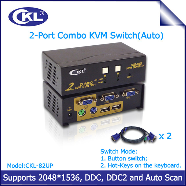 CKL-82UP 2 Port VGA KVM Switch USB 2.0 PS2 2 in 1 out Switcher for Keyboard Video Mouse
