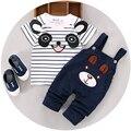 Розничная 2016 летний стиль детской одежды младенца одежды комплект мальчик панда с коротким рукавом 2 шт. мальчик одежды A158