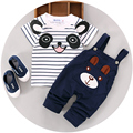 Venta al por menor 2016 del estilo del verano ropa infantil que arropan al bebé niño algodón de la panda manga corta 2 unids baby boy clothes A158