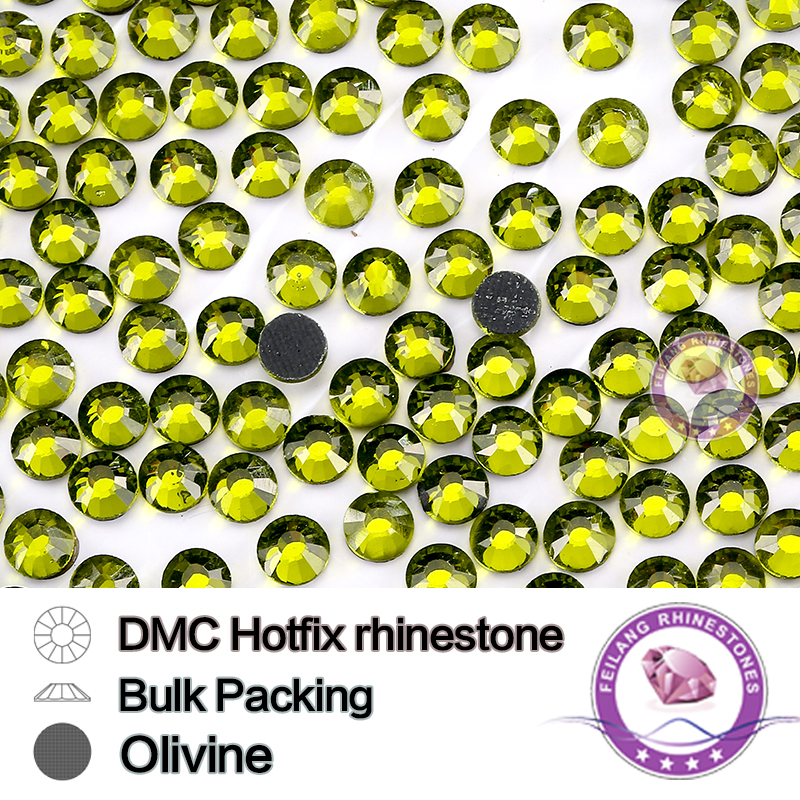 Olivine DMC HotFix Rhinestone Bulking Packing SS6 SS10 SS16 SS20 SS30 Strass For Garments Bags And Shoes