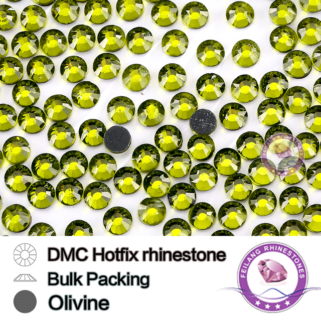 Olivine SS6 SS10 SS16 SS20 SS30 Bulking Packing HotFix Rhinestone  Use For Garments Bags And Shoes