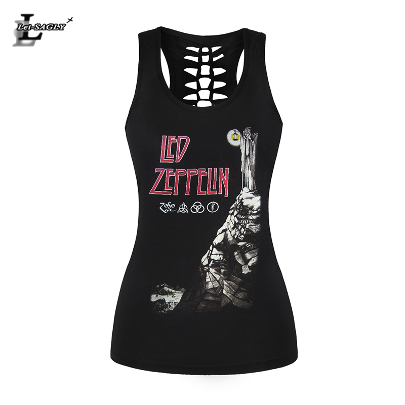 Lei-SAGLY Women Female Tank Top Sexy Black 3D Printed Vest Rock Style Led Zeppelin Camisole Hollow Out O Neck Sleeveless Shirts