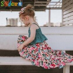 Sodawn 2019 الفتيات مجموعة الصيف الطفل الفتيات الملابس مجموعة لطيف فتاة حزام أعلى غير النظامية الزهور اللباس 2 قطعة مجموعة الأطفال ارتداء