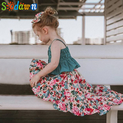 Sodawn 2019 Girls Set Summer Baby Girls Clothing Set Cute Girl Strap Top Irregular Floral Dress 2 Piece Set Children'S Wear