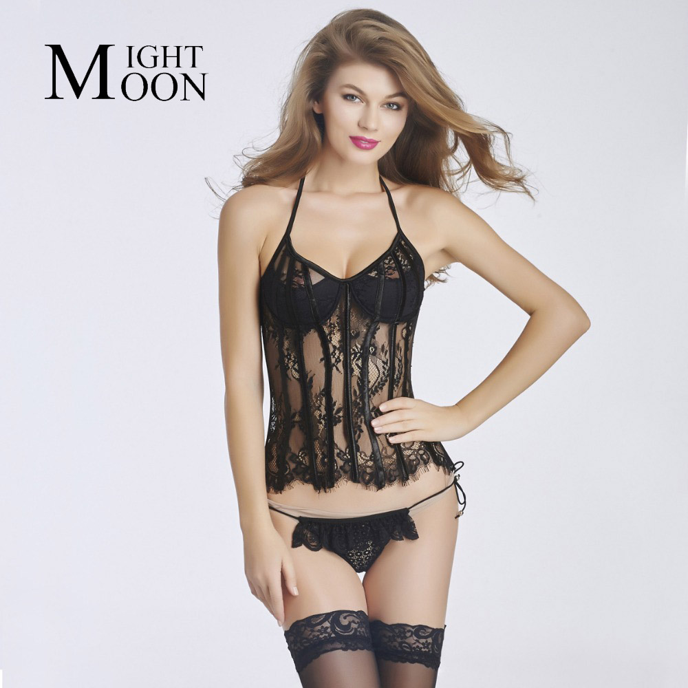 MOONIGHT Women Sexy Lace See Through Corset and Bustiers Overbust Female Body Shaperwear Steampunk S M L XL XXL Top