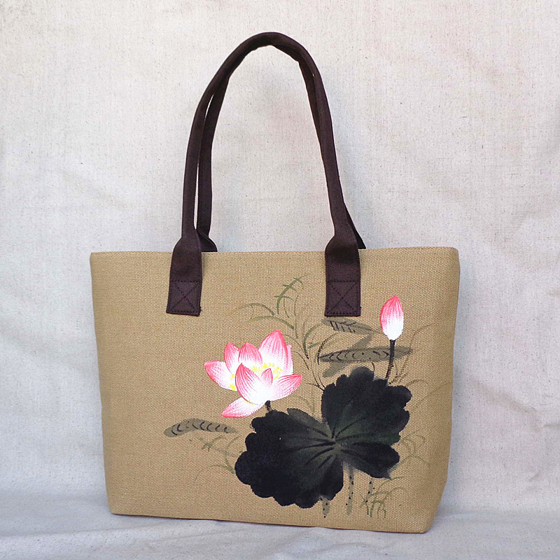 Hot sale Chinese wind hand-painted bag national style manual cloth art Ink painting water lily pattern Shoulder Bags,SKU3A0S3A2D 2016 summer mix color cloth art shoulder woman bag leisure packages exclusively for export national bag