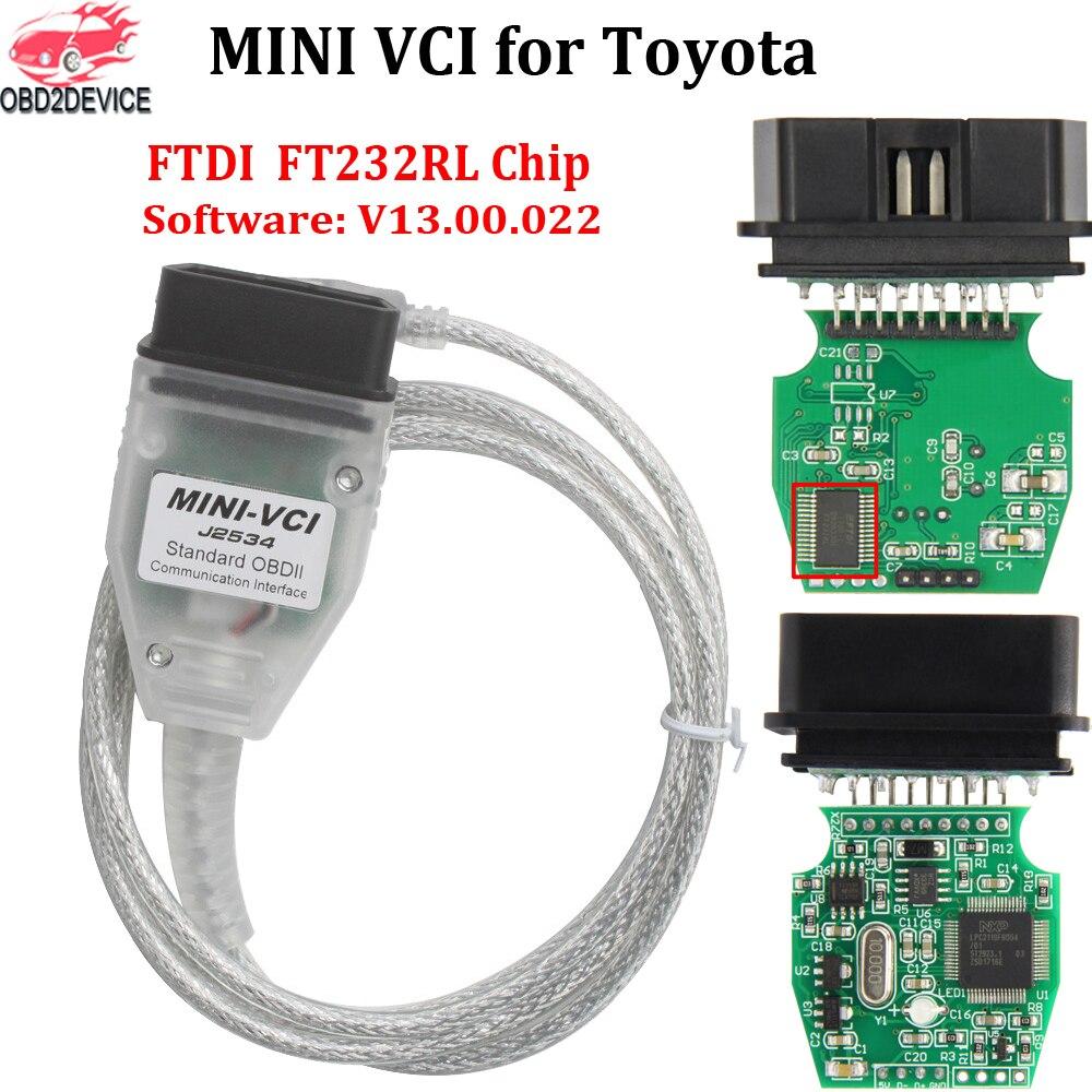 Qualidade superior mini vci j2534 interface fort. oyota tis techstream v13.00.022 mini vci ft232rl chip j2534 diagnóstico do carro cabo de varredura