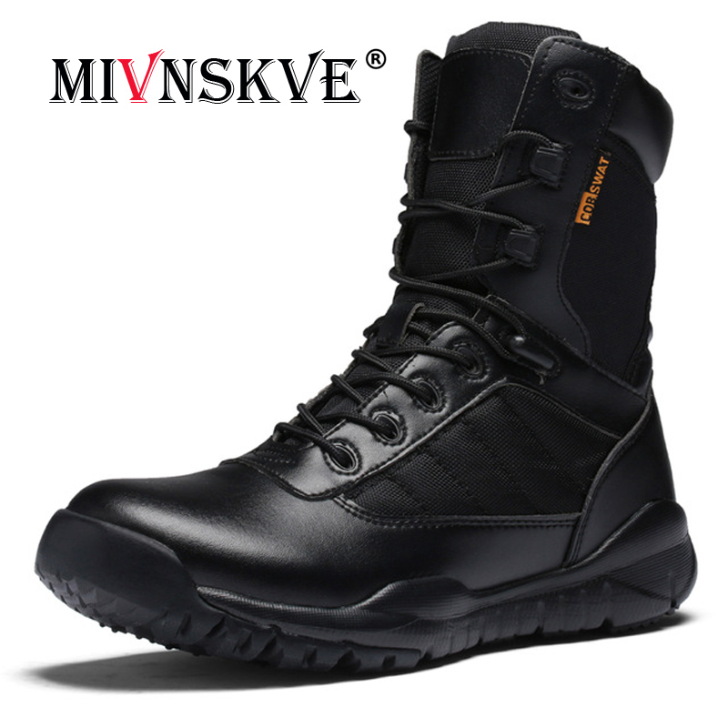 MIVNSKVE Men Military Tactical Boots Winter Leather Black Special Force Desert Ankle Combat Boots Safety Work Shoes Army Boots цены