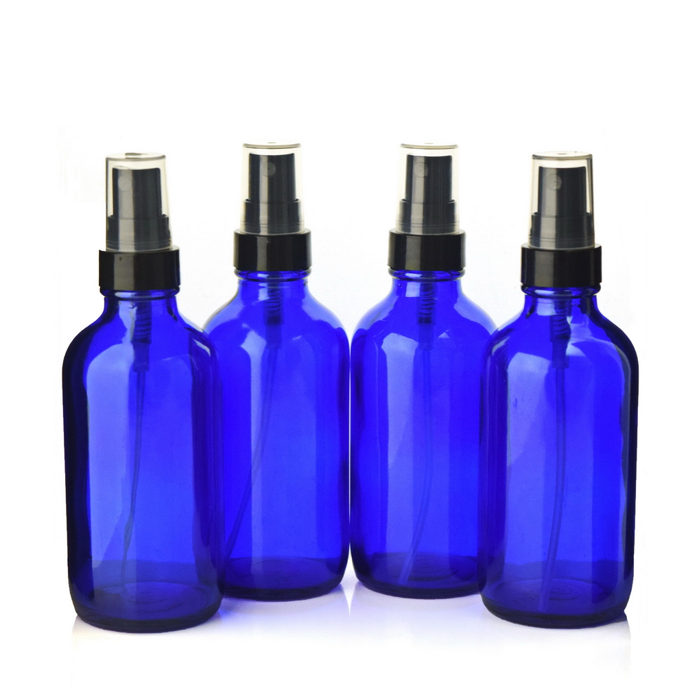 4 X 120ml Empty 4 Oz Cobalt Blue Glass Spray Bottle with black fine mist sprayer atomizer for essential oil perfume aromatherapy 6pcs 1oz 30ml amber glass spray bottle w black fine mist sprayer refillable essential oil bottles empty cosmetic containers
