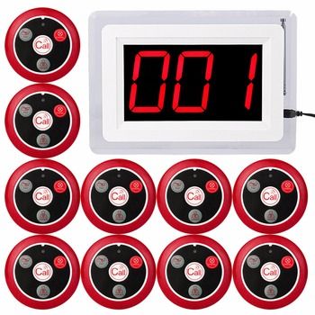 RETEKESS 433 мГц Беспроводной пейджер вызова Системы для ресторана официант медсестра с голосовой отчета 1 хоста Дисплей + 10 Настольный звонок ...