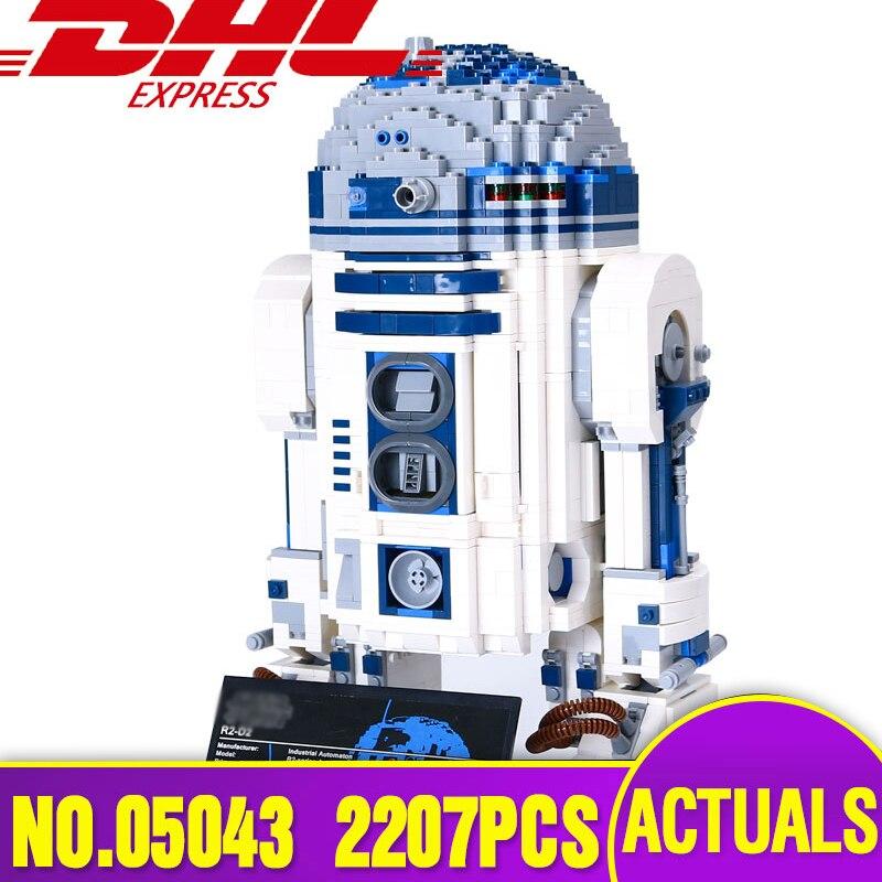 DHL 05043 Подлинная звезда План серии 10225 R2D2 набор роботов из печати строительные блоки кирпичи сборки игрушки для детей подарок