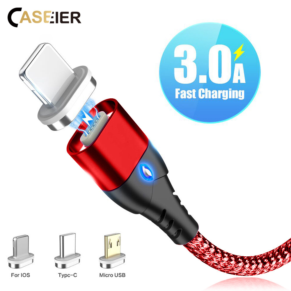 CASEIER Magnetic Cable For iPhone Samsung Huawei Fast Micro USB Charging Cables USB type