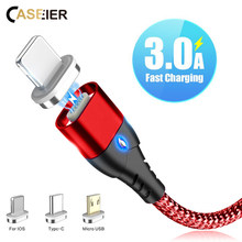 CASEIER Magnetic Cable For iPhone Samsung Huawei Fast Micro USB Charging Cables type c C usb tipo
