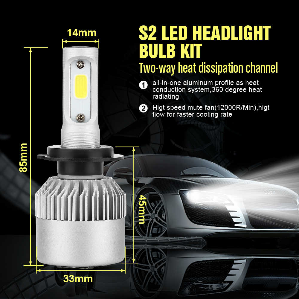 H4 LED H7 H11 H8 HB4 H1 H3 HB3 Auto S2 Car Headlight Bulbs 72W 8000LM Car Styling 6500K led automotivo