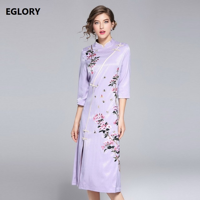 2018 Spring New Brand Chinese Dress Plus Size Women Vintage