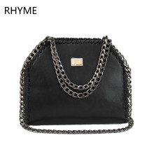 RHYME Women Stella Shoulder Bag PU Falabellas Clutch With 3 Chains Evening Socialite Tote Fashion Sac A Main Lady Handbag