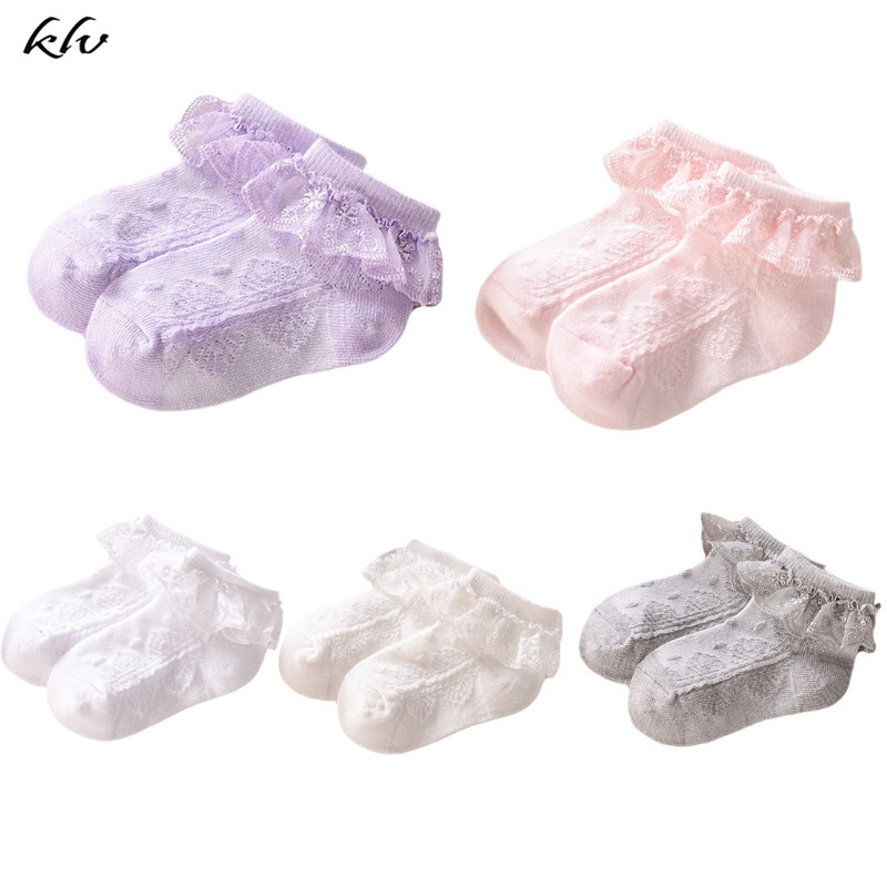 Eyelet Lace Flower Baby Girl Socks Ankle Short Socks Newborn Infant Toddlers Cotton Children Kids Summer Princess Socks 6 Colors