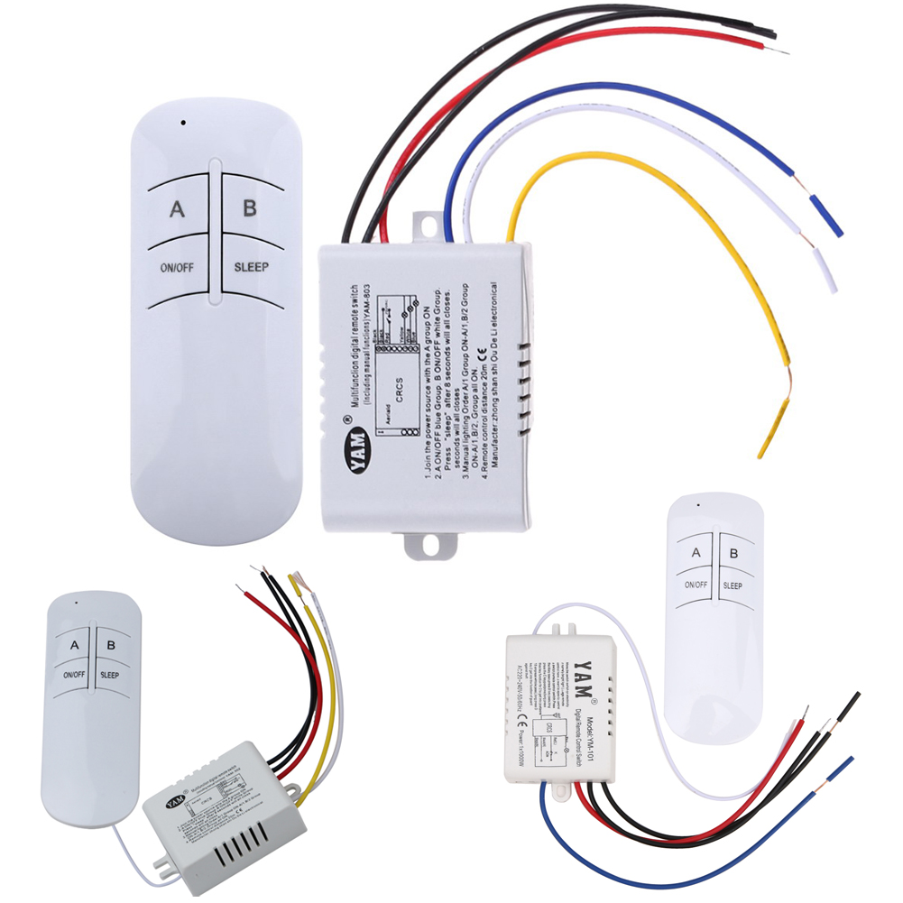 3 Port 220V Lamp Remote Control Wireless ON/OFF 220V Lamp Remote Control Switch Receiver Transmitter For Light Bulb Lamp