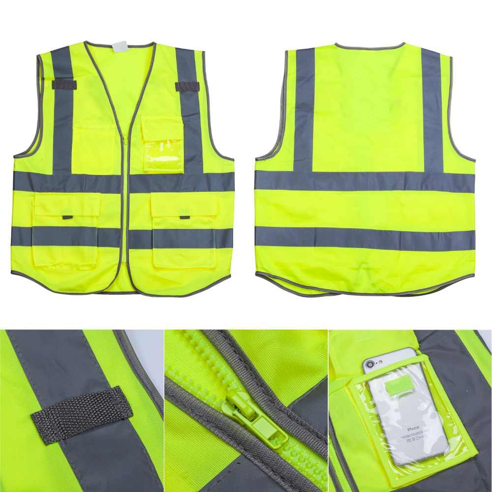DJI Drone Safety Reflective Vest, High Visibility Zipper Front Safety Vest With Cool Cloth Vest Excellent Flight Experience