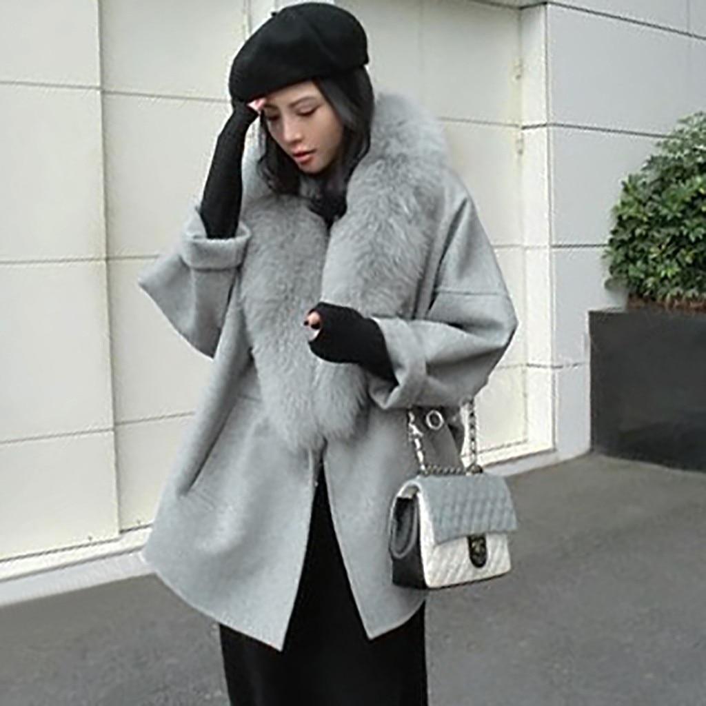 Fourrure Cachemire En Femmes gray Grand Manteau Lâche Beige Chaud Laine Grande face V De Automne Et Col Double Taille Solide D'hiver wAq4Pqx1