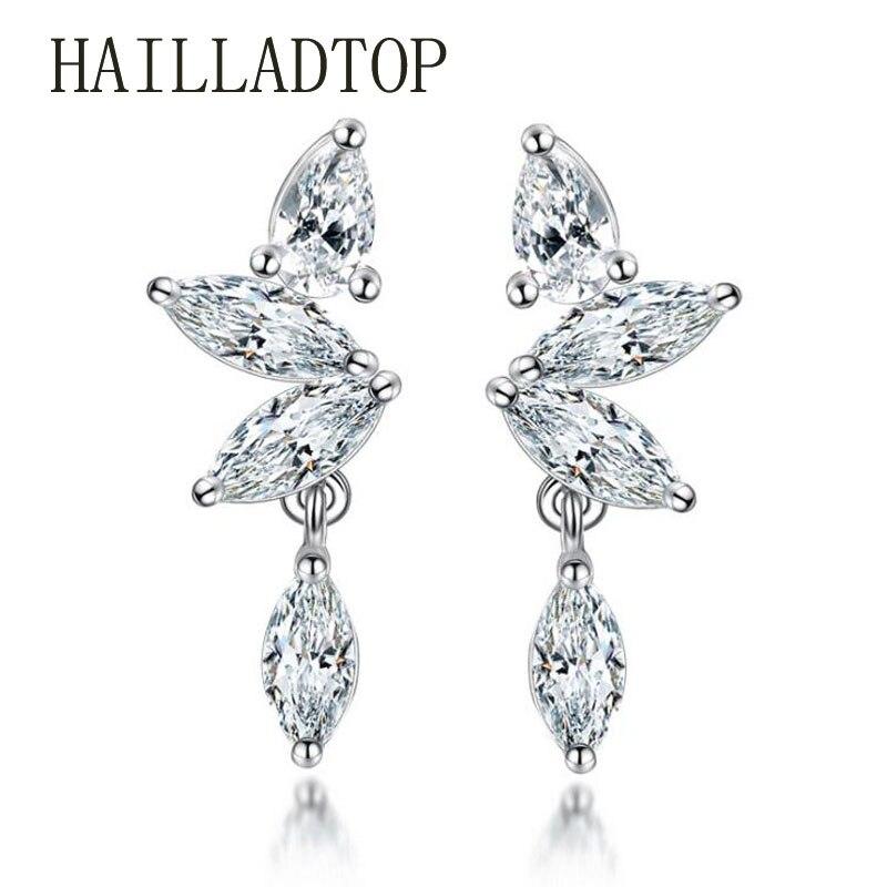 Female Fashion Silver font b Jewelry b font Earrings font b luxury b font AAAAA Zircon