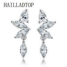 Female Fashion Silver Jewelry Earrings luxury AAAAA Zircon Crystal Earrings Girls Jewelry Stud Earrings Exquisite Gift