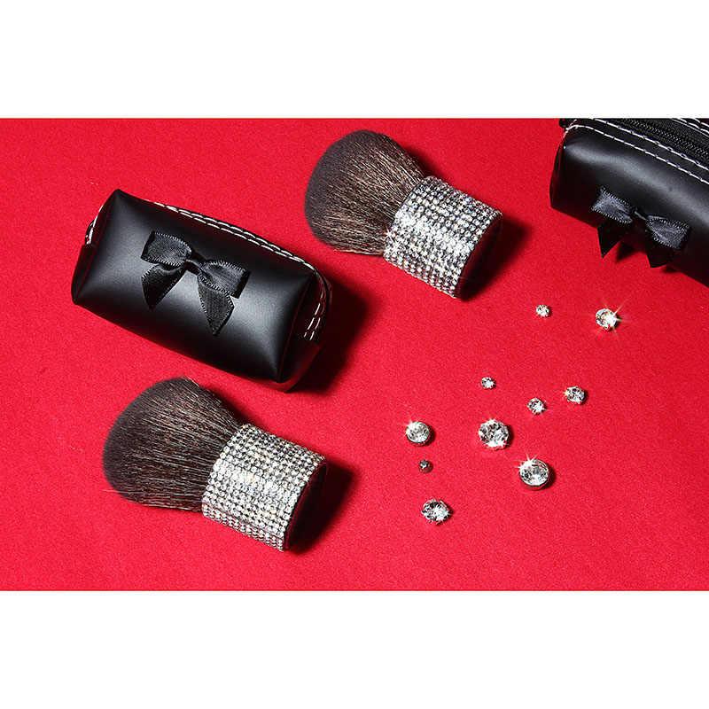 Кисти для макияжа с бриллиантами, с держателем, козья шерсть, единорог, стразы, портативная кисть Кабуки для пудры, Кисть для макияжа, 1 шт., для смешивания румян