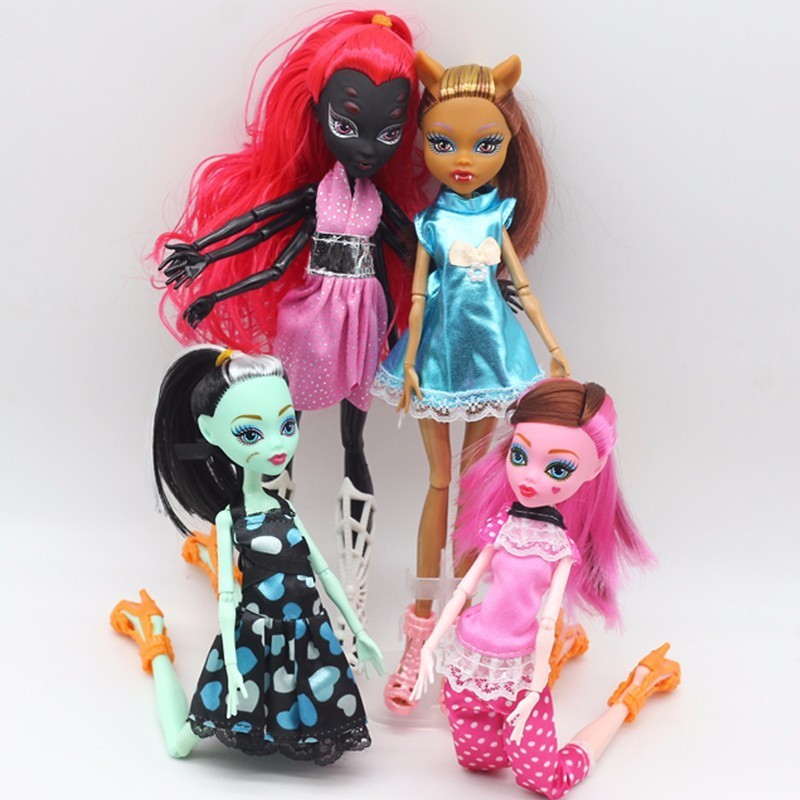 4Pcs/Lot Amonster High Dolls Draculaura/Clawdeen Wolf/ Frankie Stein / Black WYDOWNA Spi ...