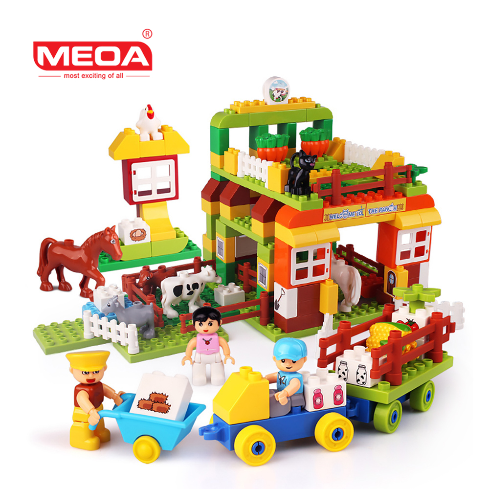 Big Size Blocks Toys 163pcs Large Particles Building Blocks Happy Farm Animals World Horse Cow Figures Compatible With Duplo kid s home toys large particles happy farm animals paradise model building blocks large size diy brick toy compatible with duplo