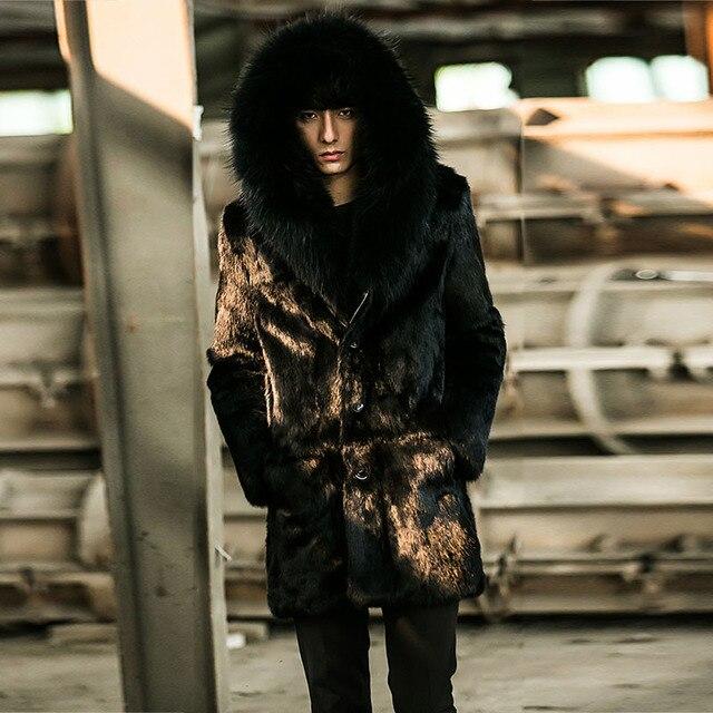 Fursarcar 2018 뉴 블랙 짧은 렉스 토끼 모피 자켓 폭스 모피 칼라 남성 패션 자연 겨울 모피 두꺼운 따뜻한 코트