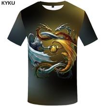 KYKU Dragon T-shirt Men Animal T Shirt Metal Punk Rock Clothes Yin Yang 3d Printed Tshirt Casual Space Mens Clothing Summer Tops