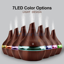300ml Electric Ultrasonic Air Humidifier USB Aroma Diffuser Essential Oil Aromatherapy Wood Cool Mist Maker LED Light For Home