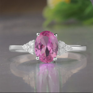 Image 3 - KE004P Solid 925 Sterling Silver Rings For Women Created Pink Ruby Emerald Gemstone Ring Wedding Engagement Band Jewelry Gift