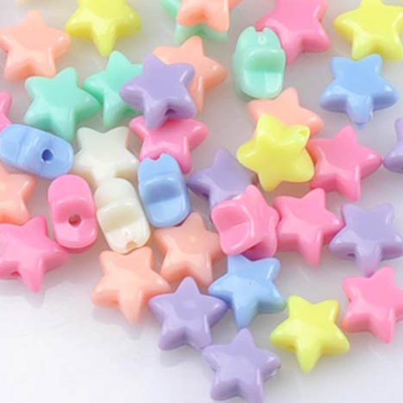 Miçangas espaçadoras para joias, misturadas, estrela acrílica, doces, jóias feitas à mão, diy, 11mm, 50 peças, ykl0523x, novo, 2018