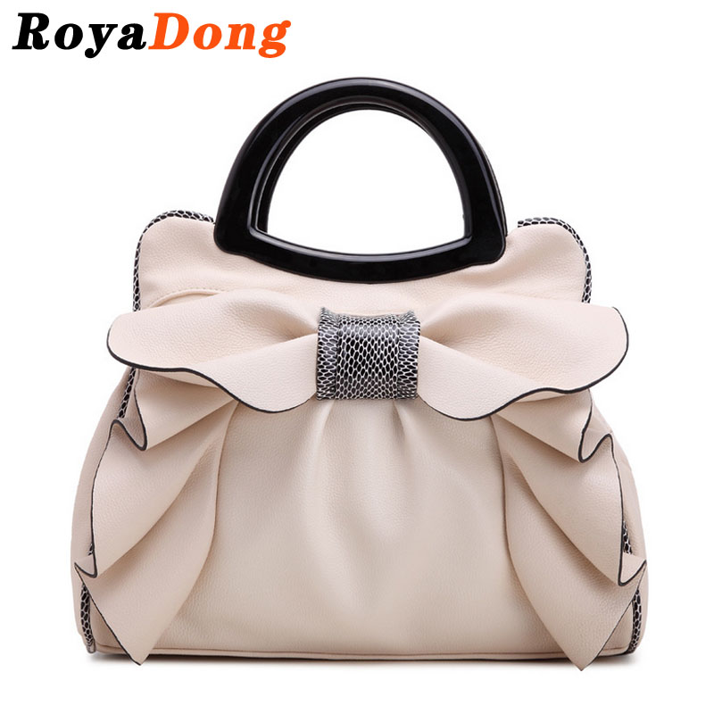 RoyaDong 2017 Brand Top-Handle Bags Women's Handbags Bow Flowers Luxury Women Ba